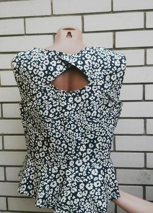Фактурная блузка  с открытой спиной и баской по низу,большой размер,zara