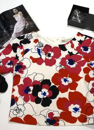 Изумительной красоты неопреновая блуза в цветы xl - xxxl