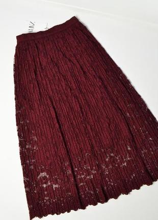 Кружевная плиссе миди юбка марсала zara woman