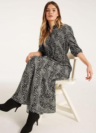 Актуальное удлиненное платье рубашка в цветочный принт