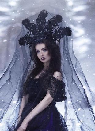 Чёрный кокошник,украшение для шоу,фотосессию