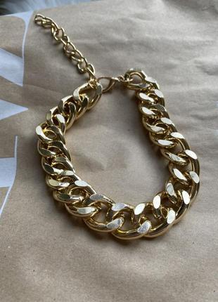 Крупная цепь под золото бижутерия ожерелье колье цепочка новая