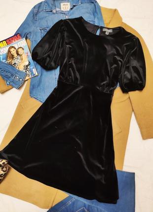 Primark платье чёрное велюровое большое батал классическое праздничное