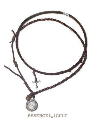 Кожаный амулет, мужское ожерелье камень солнца, ацтекский календарь и тотемный столб
