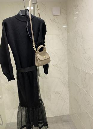 Шикарное миди платье хлопок вязка с юбкой фатин и сумочкой