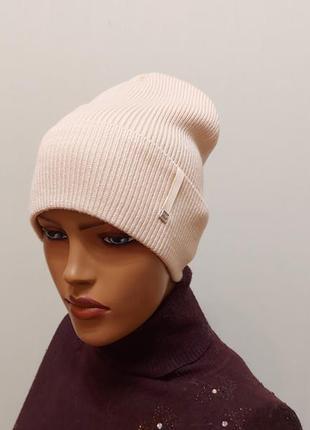 Молодежная шапка бини жемчуг на флисе