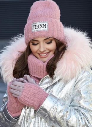 Зимний пушистый комплект тройка-шапка, бафф, перчатки