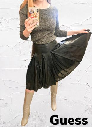 Черная юбка из эко-кожи guess
