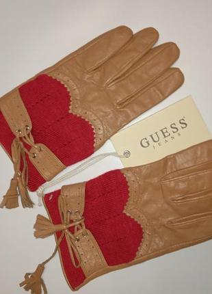 Кожаные перчатки с вставками текстиля guess (гесс)