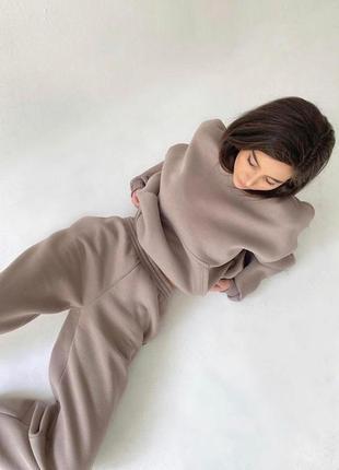 Идеальный ❤️ женский спортивный  костюм на флисе худи и джогеры мокко