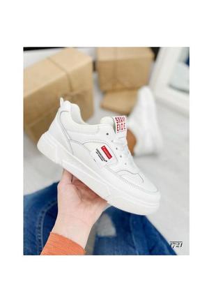 Кроссовки кеды белый красный эко-кожа