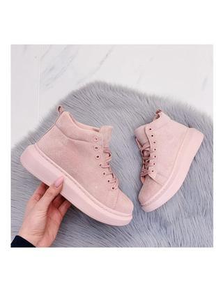 Кроссовки кеды эко-замш светло-розовый