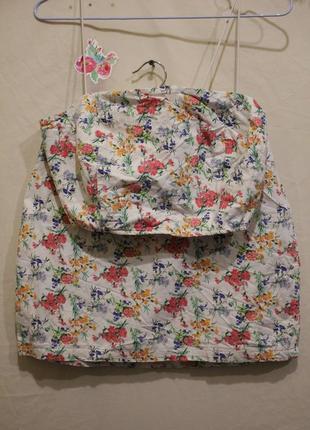Костюм мини юбка + топик на бретелях цветочный принт