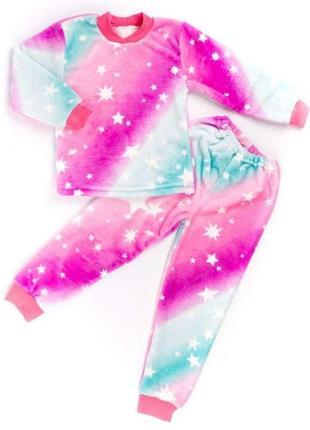 Пижама на манжете цветная рваная махра с изображением звездочек