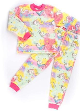 Пижама на манжете цветная рваная махра с изображением пони