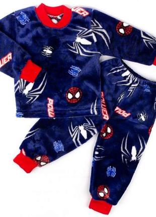 Пижама на манжете цветная рваная махра с изображением паука