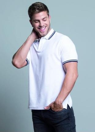 Белая футболка поло тенниска 100% хлопок размеры