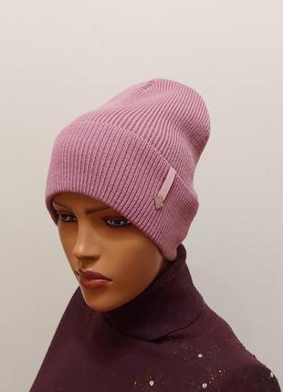 Стильная шапка на флисе  56-58 лиловый