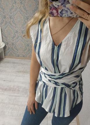 Необычная хлопковая блуза на завязках
