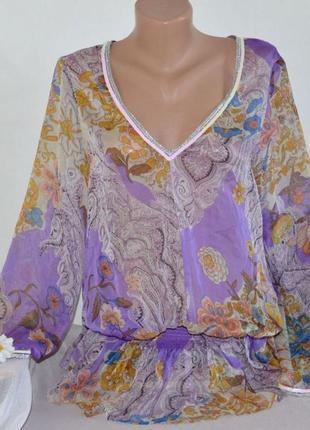 Брендовая шифоновая блузка туника bella ragazza италия паетки цветы
