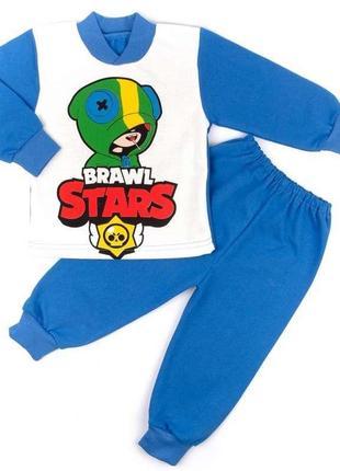 Пижама на манжете однотонный начес синего цвета brawl stars