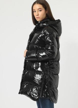 Новый пуховик hox, италия куртка дутик парка на пуху чёрный глянец блестящий пальто