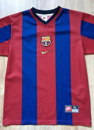 Подростковая винтажная футбольная форма nike fc barcelona jersey xl kids 1998