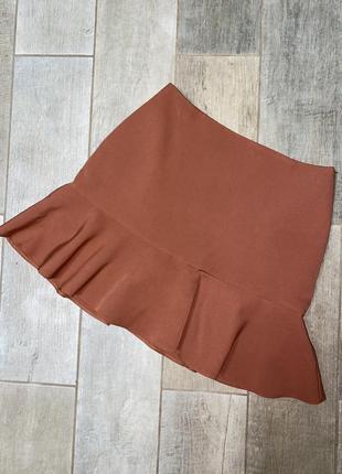 Бежевая ,карамельная мини юбка,воланы
