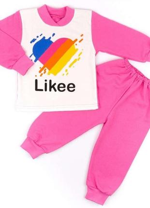 Пижама на манжете однотонный начес розового цвета likee