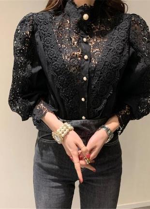 Красивая чёрная блузка с длинным рукавом кофточка на работу офис школа