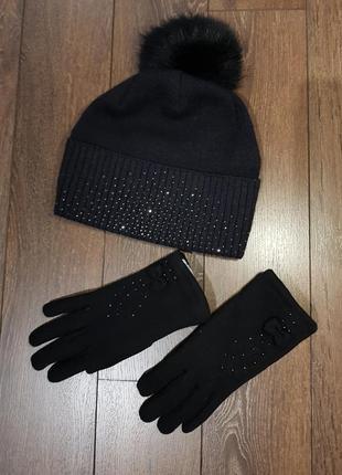 Шапка с бубоном + теплые перчатки