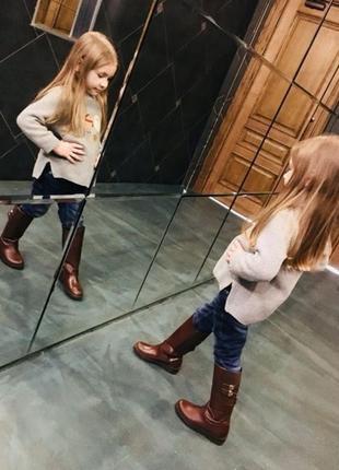 Кожаные сапоги для девочки zara
