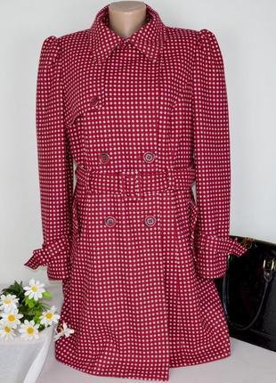 Брендовое демисезонное пальто в горошек с поясом и карманами next шерсть этикетка