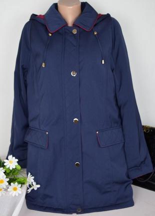 Брендовая синяя утепленная куртка с капюшоном и карманами isle ewm синтепон этикетка