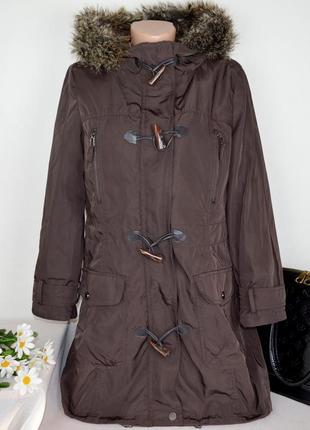 Брендовая коричневая утепленная куртка с капюшоном  jasper conran синтепон этикетка