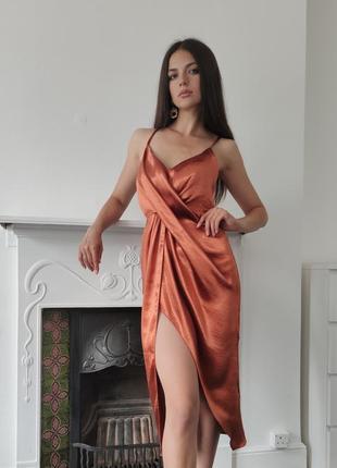 Роскошное платье миди атлас