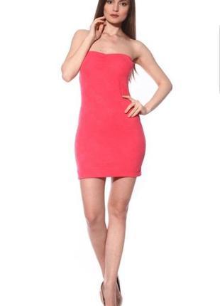 Фактурное мини платье бюстье pink woman.