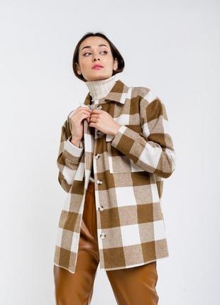Шерстяная рубашка в клетку коричневая