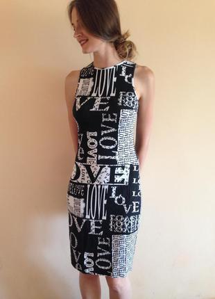 Черно белое платье миди