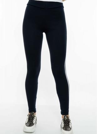 Лосины женские спортивные с лампасами 611f001 темно-синий / белый