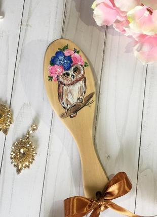 Расческа с совой, ручная роспись расчески, деревянная расческа