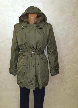 Парка куртка - ветровка цвета хаки женская 2 в 1