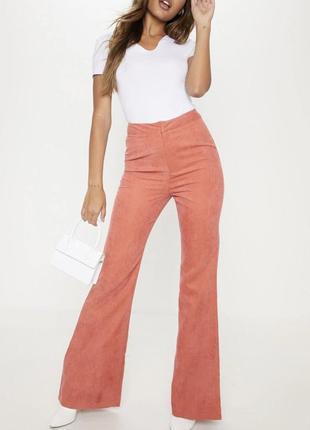 Штаны брюки кюлоты оранжевый высокая посадка морковный