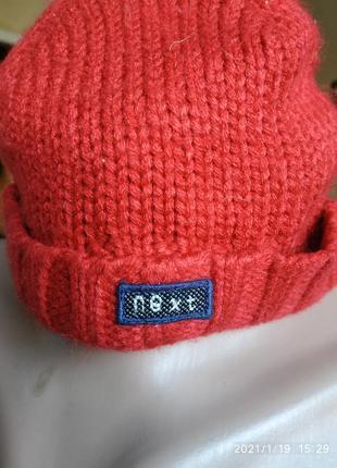 Вязанная шапочка на подкладке на  3мес