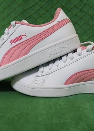 Белые кроссовки puma smash v2 leather 37,5 размер, натуральная кожа, оригинал