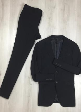 F9 n9 костюм черный в точку f&f приталенный пиджак/зауженные брюки