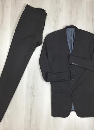 N9 f9 костюм серый hugo boss шерстяной приталенный пиджак/классические брюки