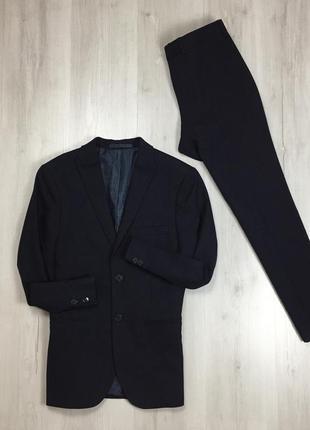 N9 f9 костюм темно-синий m&s limited полушерстяной приталенный пиджак/зауженные брюки