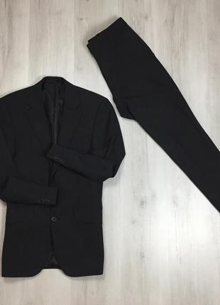 F9 n9 костюм серый полушерстяной приталенный пиджак/классические брюки