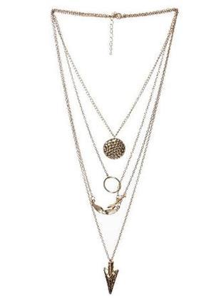Многослойное ожерелье цепочка чокер подвес на шею.